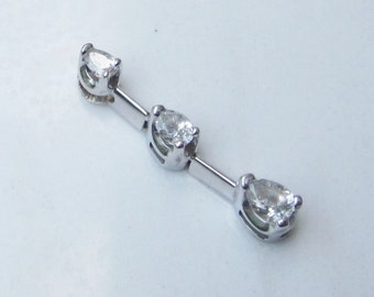 Estate 14k Solid White Gold and Three Pear Cut Diamonds Pendant for Necklace