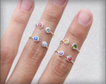 DUAL BIRTHSTONE RING - dual opal ring, two gemstones mothers ring, birthstone ring, two birthstones, dual gemstone ring, sterling, gold