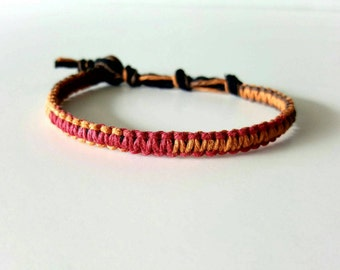 Autumn Multi-color Hemp Bracelet, fall orange, brown, red, Hemp Anklet, Indie Hemp Works, Hemp Jewelry, Aromatherapy, Natural, Bug Repellent