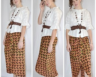 Vintage Brown Green And Tan Batik Cotton Sarong Midi Skirt Pacific Island Africa Tribal 30 Inch Waist