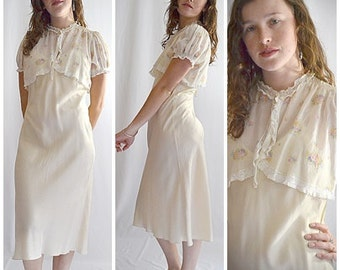 Vintage 1930s Ivory Floral Silk and Lace Cropped Jacket Blouse Shrug Sz S