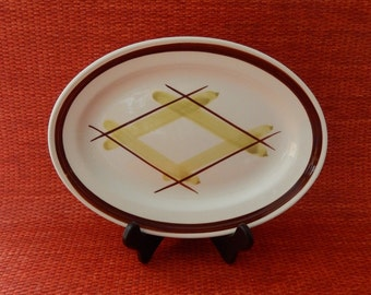 Edwin Knowles Plaid Oval Platter, Green and Brown Pacific Plaid, Designed by Virginia Hamill, 1950s China