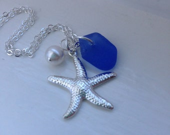 Cornflower Blue Sea glass and Starfish Necklace