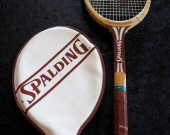 Vintage SPALDING  CHAMPIONSHIP Wood Tennis Racquet 4 1/2 M  Leather Grip Ash