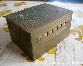 """Handmade ARTS AND CRAFTS Brass Box Very Old with Patina  Stamped Logo  4 1/4 """" x 3 1/8"""" x 2 1/4"""" Wood Lined"""
