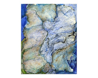 Fantasy map art print, pale blue green abstract watercolor print, Paper Topography 4