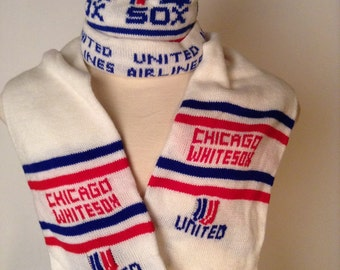 SALE Vintage Chicago White Sox Beanie and Scarf Set