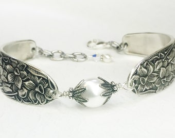 Spoon Bracelet, White Coin Pearl,  Silverware Jewelry, 'Narcissus' 1935