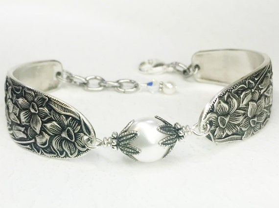 Spoon Bracelet featuring White Coin Pearl,  Silverware Jewelry, 'Narcissus' 1935