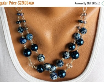On Sale Blue Pearl Necklace, Pearl Necklace, Mother of Pearl Necklace, Blue Necklace