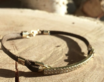 Silver gold rhinestone leather bracelet