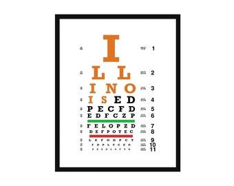 Eye Chart - Illinois - illini - Art Print - Wall Art-  Poster - Champaign - Urbana