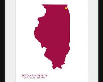 Loyola University - Ramblers - Illinois Map - Print Poster - College State Map