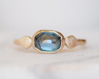London Topaz Spring Petal Ring - 14k Gold Topaz Ring - Eco-Friendly Recycled Gold