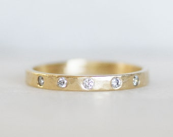 Diamond Wedding Band - 5 Diamond Band - Choose Between 14k and 18k Gold - Eco-Friendly Recycled Gold