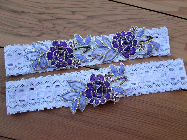 Purple Bridal Garter Set Lavender Lace Wedding Garter Set