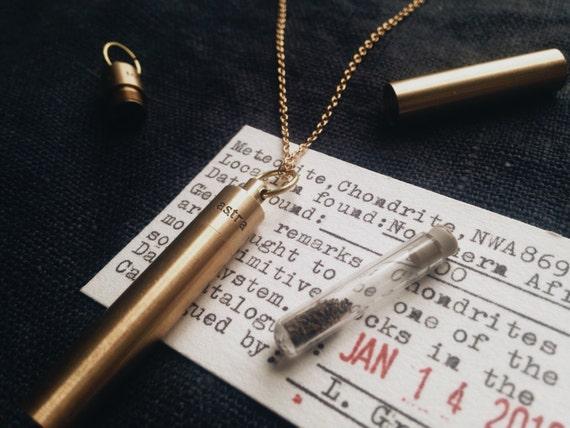 Meteorite Dust Time Capsule Pendant Locket Necklace in Brass