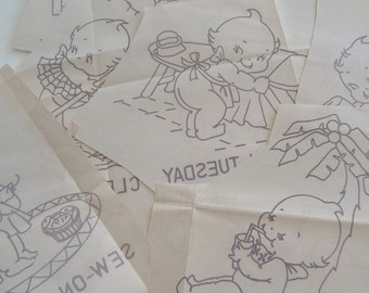 Eight Kewpie Day of the Week Iron On Embroidery Transfers