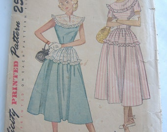Simplicity 2498, Teen-Age One-Piece Dress, Size 12, Bust 30, 1950s