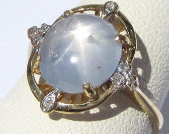 Vintage Star Sapphire Ring Antique Art Deco Wedding 18K Gold Diamonds 30s