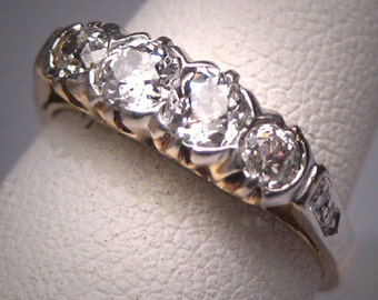 Antique Euro Diamond Platinum Wedding Ring Band Victorian 1 Carat Gold Engagement Anniversary