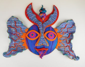 Oaxacan Sprit Mask in Purple Aqua Blue Pearl and Black Polymer Clay with Orange and Pink