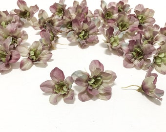 30 GRAY MAUVE Delphinium Buds - Assorted Sizes - Artificial Flowers, Silk Flowers, Hair Accessories