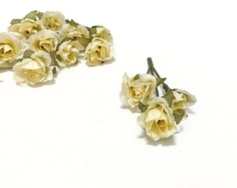 Artificial Flowers - 15 Tiny Yellow Mini Roses - Dry Look - Very SMALL Flowers