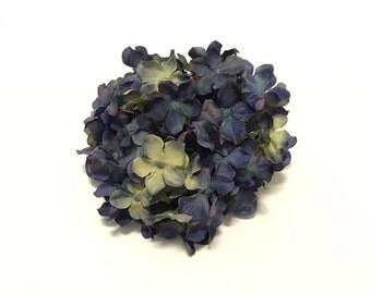 Artificial KHAKI BLUE Hydrangea Head - Smaller Blossoms, Artificial Flowers, Silk Flowers, Wedding