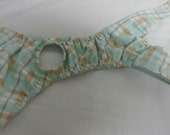 Washable Unisex Cat Diapers Incontinence Mint Green Plaid Cotton Fabric Print USA Handmade Size ML