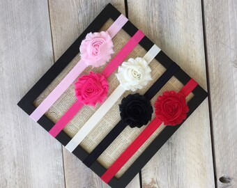 Flower Headbands Infant to Adult Sizes Rosettes Pink, White, Black, Red You Pick Colors and Sizes