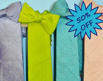 SALE Silk Neckties and Bow Ties Solid Purple, Green, Teal, Peach, gifts for men, gifts for guys, spring, classy tie, silk tie, silk bow ties