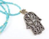 Hamsa Hand of Fatima Rhinestone Necklace Aqua Blue Jade Stone Gemstone Statement Gypsy Hippie Bohemian Artisan - One Of A Kind
