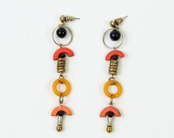 VINTAGE Long Dangling Earrings 1970s Beaded Pierced