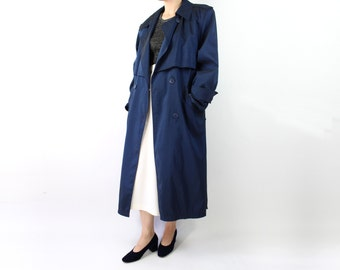 VINTAGE Blue Trench Coat Belted 1980s Jacket