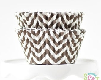 Chevron Brown BakeBright GREASEPROOF Baking Cups Cupcake Liners   ~30