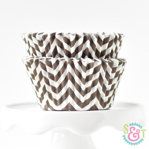 Chevron Brown BakeBright GREASEPROOF Baking Cups Cupcake Liners | ~30