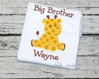 Personalized Big Brother Shirt, Big Brother Giraffe Shirt, Sibling Shirts, Personalized Giraffe  Sibling Shirts, Family Shirts