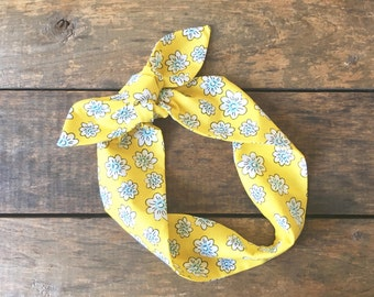 yellow and blue floral headscarf, top knot headscarf, retro tie up headband adjustable, summer fashion, under 15