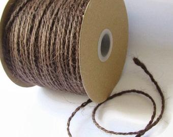 100 Yard Rustic Jute Twine / Rope / Cord - Chocolate Brown - Full Spool / Roll - Packaging Invitation Wrap - Natural Burlap Craft String 2mm