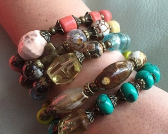 sale Boho Beauties Collection yoga stackable arm candy stretchable gemstone and vintage bead bracelets Island Dream