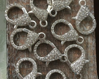Pave rhinestone extra Large Lobster Claw clasps Platinum Silver color Plated 31mm X 22mm one clasp