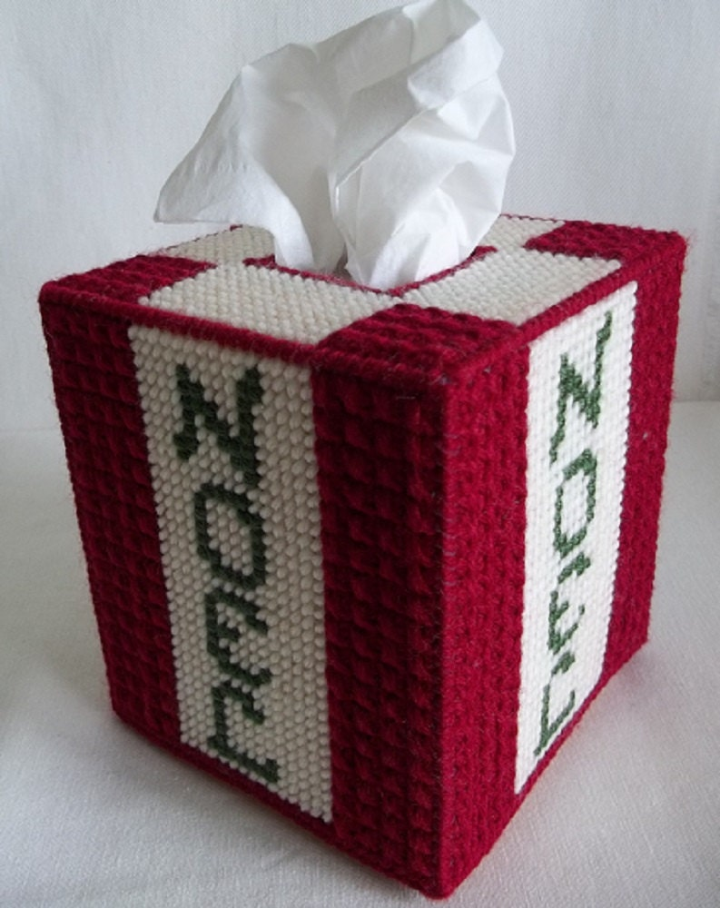 Christmas Noel Tissue Box Cover Plastic Canvas Tissue Cover