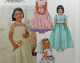 Girls Size 6 7 8 Butterick 3702 Floral Evening Dress Gown Veil Flower Girl Child Kids Children Uncut Sew Sewing Pattern