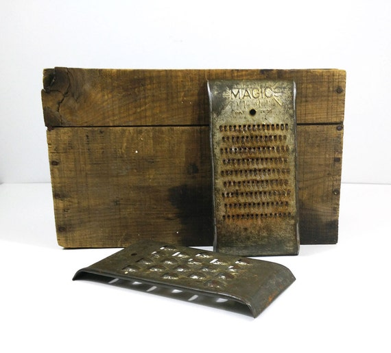 Vintage Kitchen Graters Magic Shredders Set Of 2 Rustic