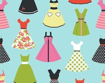 Dresses in Aqua Novelty Fabric-  by Riley Blake - Half Yard