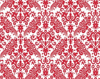 Hollywood Medium Damask Red on White Fabric - 1 Yard
