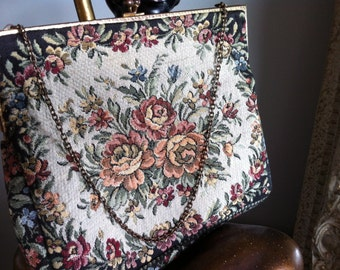 Vintage French  Tapestry Handbag Brass Clasp evening bag