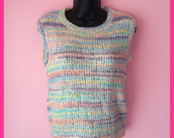 Vintage 1980s Pastel Stripes Knit Sleeveless Sweater Pullover Top