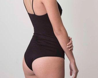 Women's One Piece Black Sexy Bodysuit - One Piece Knit Tee V-Neck Bodysuit / Knit V-Neck Romper